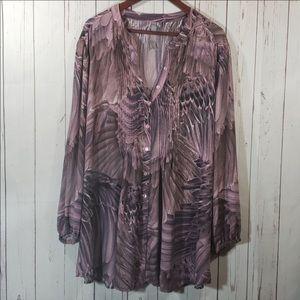 Melissa McCarthy Seven7 pink button up blouse 4x